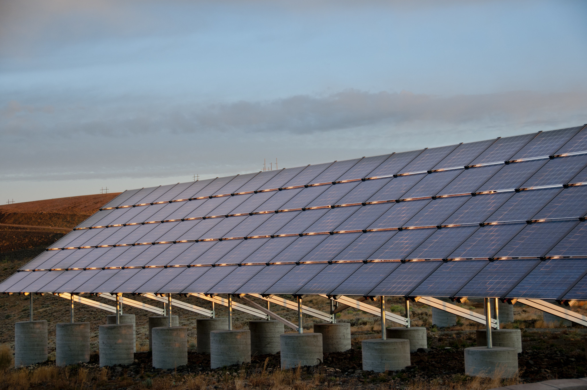 Solar panels at sunrise at the Wild Horse Wind and Solar Facility.